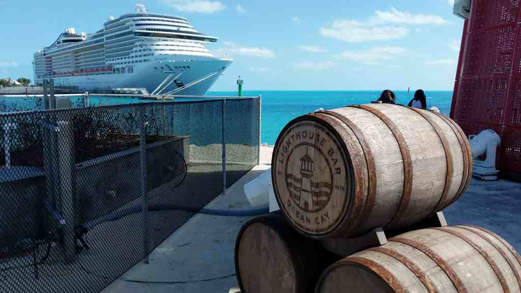 View of MSC Divina from the Ocean Cay MSC Marine Reserve, Lighthouse Bar.