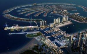 dubai harbour with cruise terminal adjacent palm jumeirah island