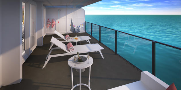 all megasuites within the rockstar suites area will have peek-a-boo showers on the balconies.