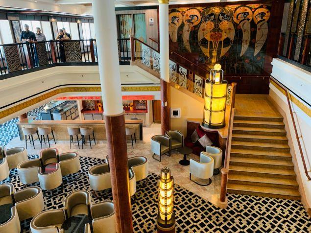 the forward atrium aboard norwegian jade - home to magnums, the cigar lounge, sushi bar, jasmine garden and teppenyaki