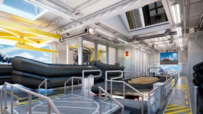 rendering of zodiacs and sub stored within the hangar on-board the viking expedition ships polaris and octantis