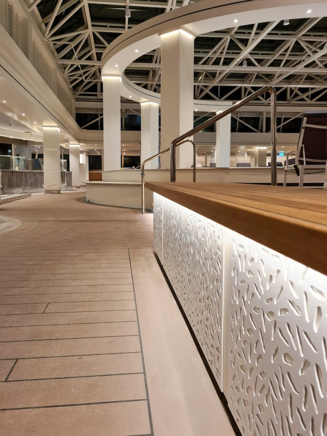 new teak flooring and lighting in the refurbished glass house aboard marella discovery