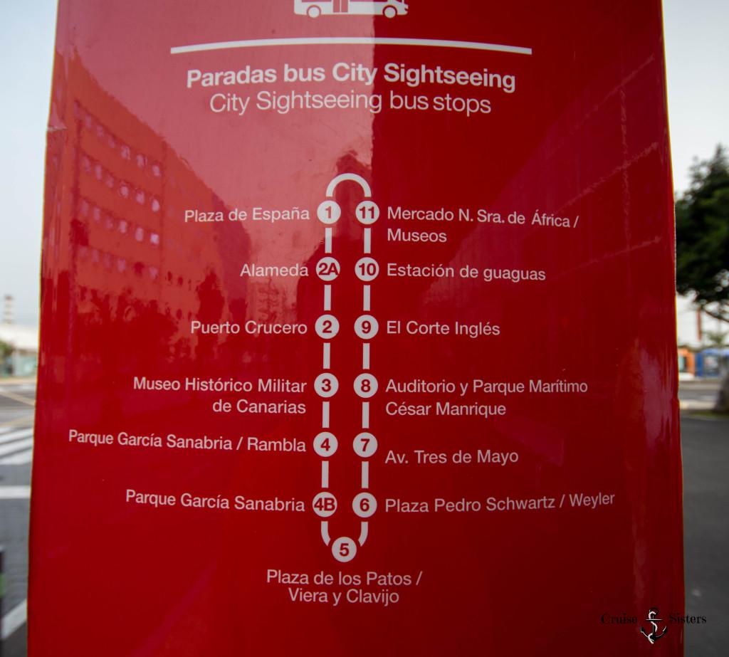 Die Route des Sightseeing Bus auf Tenetriffa