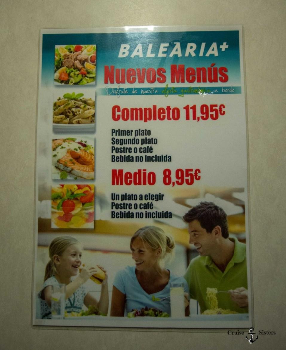 Menüauswahl auf der Balearia Fähre