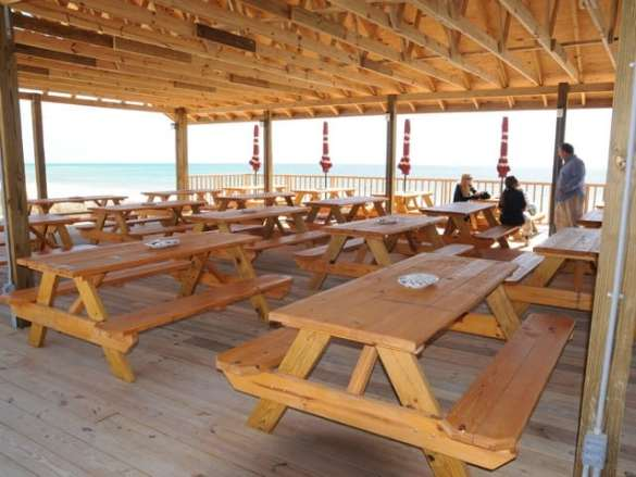 Picnic tables for dining.