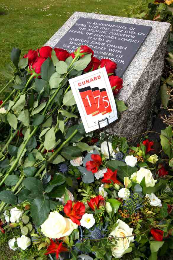 Service of Celebration as part of the Three Queens, Cunard 175th Anniversary at the Church of Our Lady and Saint Nicholas, Liverpool. Pictured: Roses at the remembrance stone for the Atlantic Conveyor in the gardens of the church. Photo by Ian Cooper