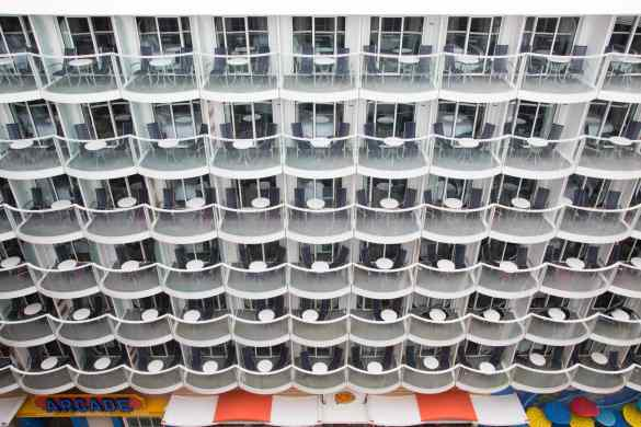 Royal Caribbean International's Harmony of the Seas, the world's largest and newest cruise ship, previews in Southampton, UK. Balcony Suites overlooking the Board Walk