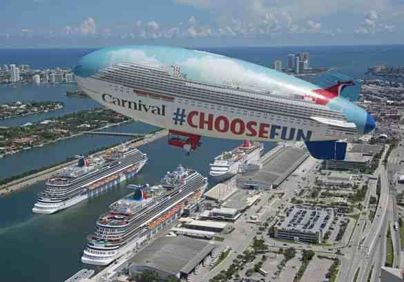 The Carnival Airship floats over Carnival Vista