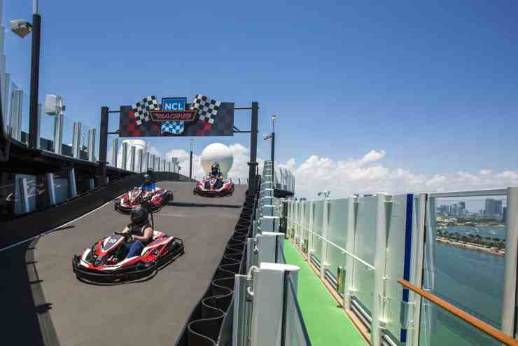 The Race Track aboard Norwegian Bliss. She is coming to Miami for the Winter Season.