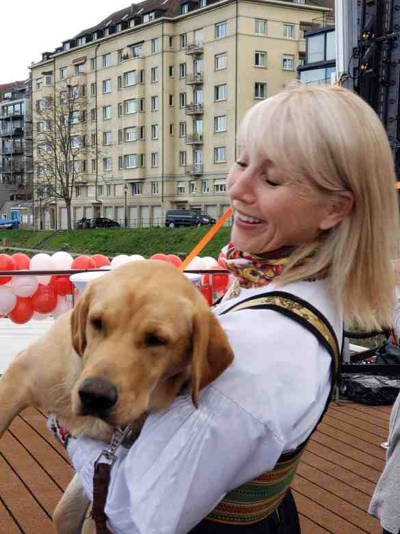 Karine Hagen with Finse at the naming ceremony