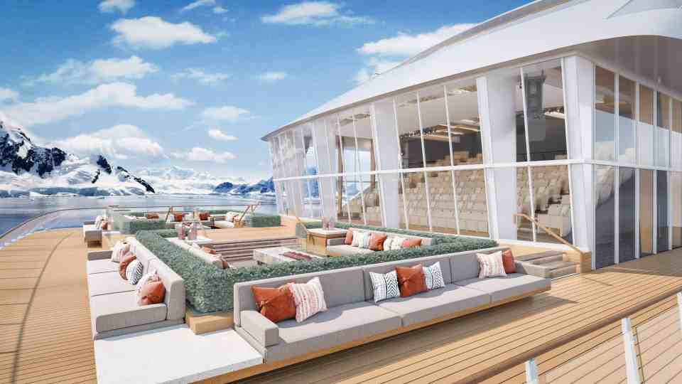 Rendering of the Deck 2 Aft area, Finse Terrace and Theater Auditorium on-board the Viking Expedition ship (Credit: Viking)