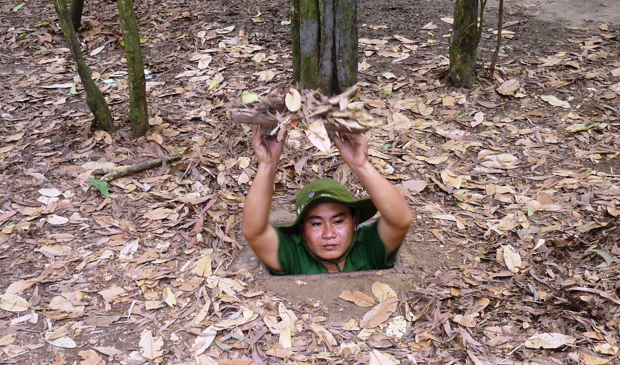 Cu Chi tunnelerne som blev brugt af soldaterne under Vietnam krigen