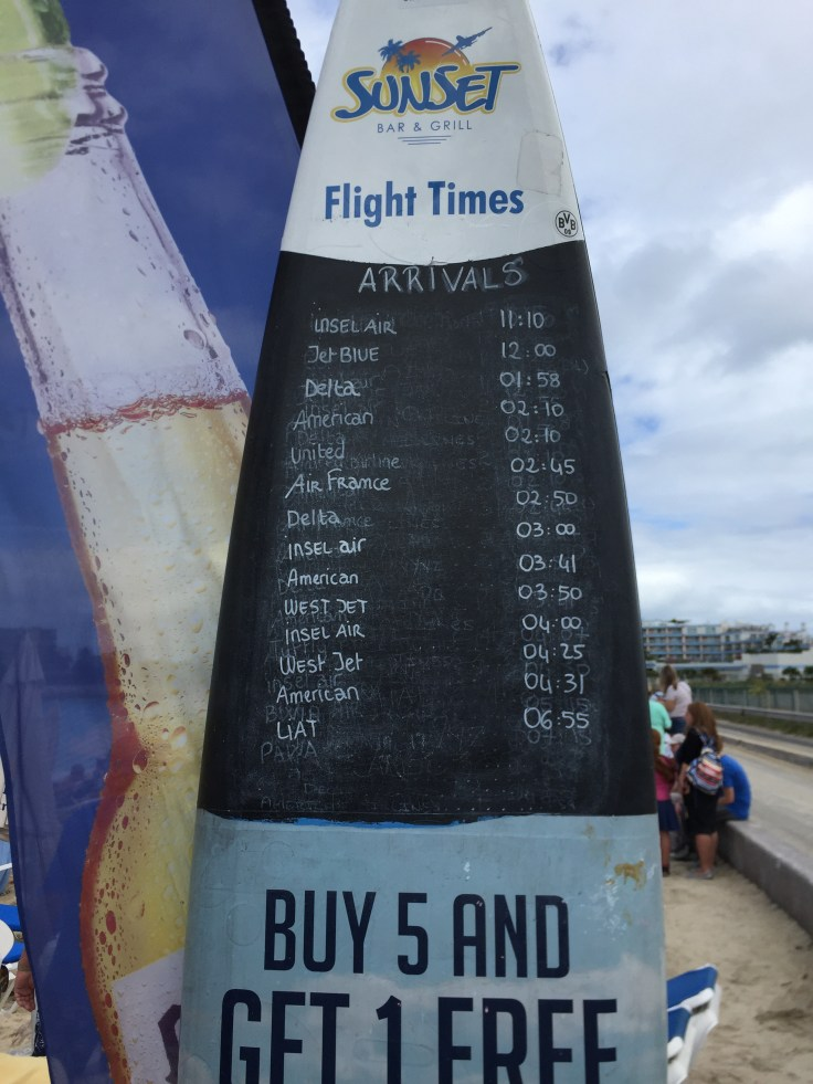 The Sunset Bar has a list of flight times for the day so you can see when aeroplanes are due to land.