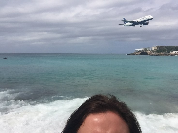 Aeroplane selfie at Maho Beach