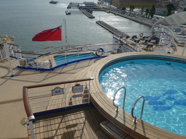 A view of the two aft pools on Sapphire Princess
