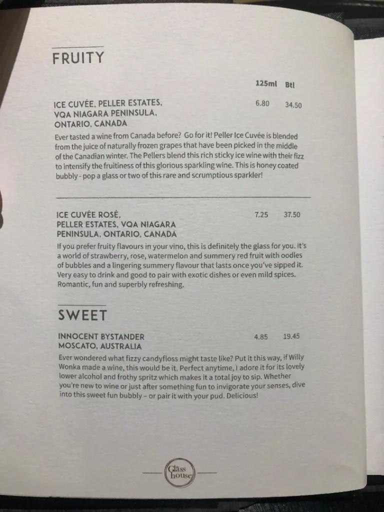 p&o britannia drinks menu