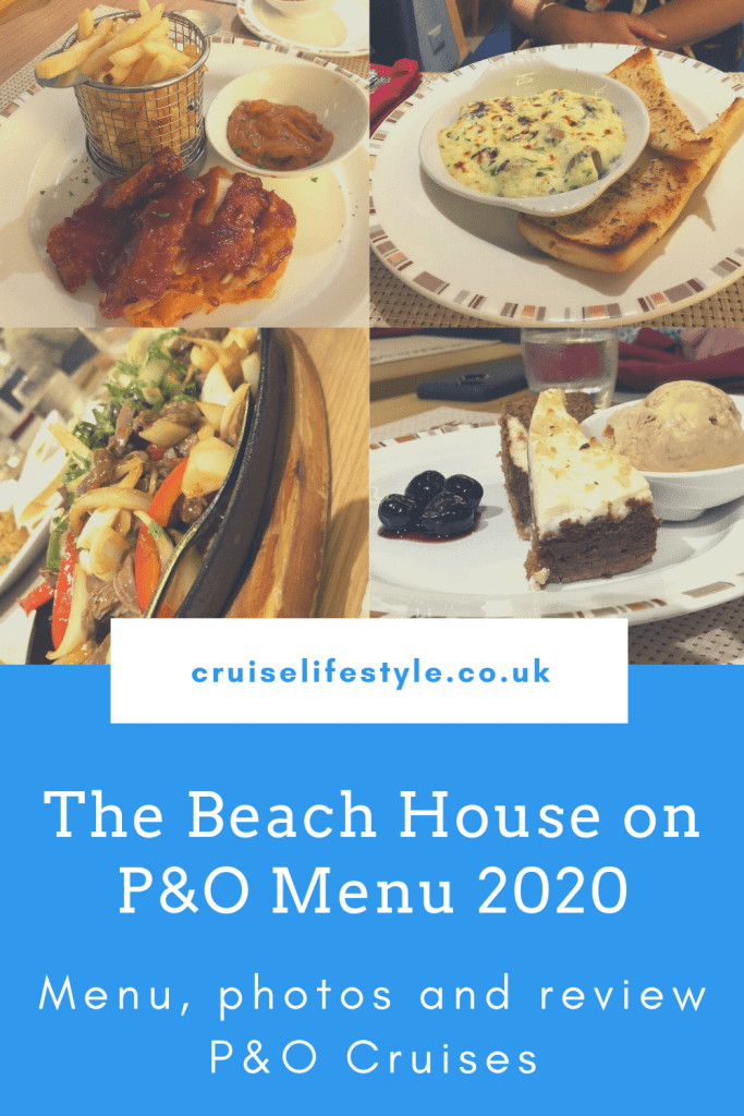 The Beach House specialty dining menu on P&O Cruises with photos and review