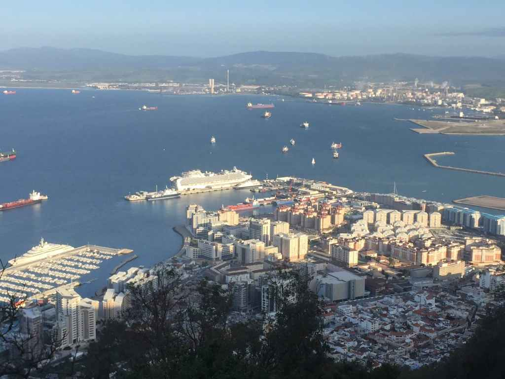 Gibraltar cruise port from top of the rock