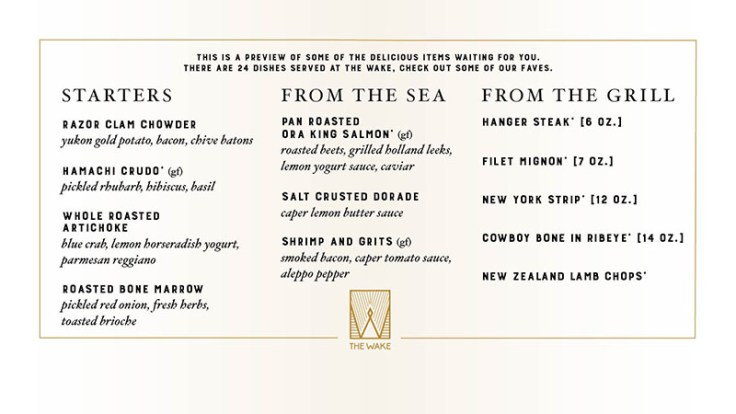 Wake Restaurant sample menu