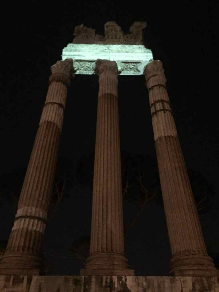 roman forum light show ruins