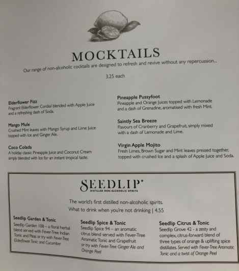 Brodie's mocktail menu