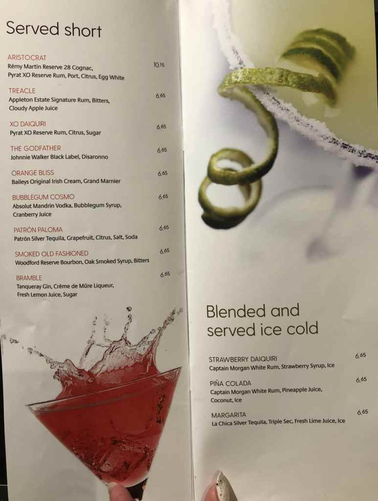 P&O drinks cocktail menu