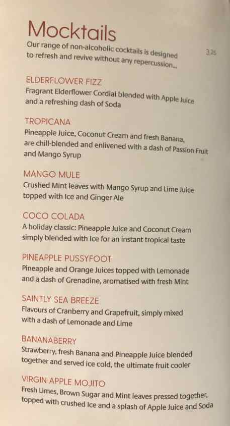 P&O drinks menu with prices mocktails
