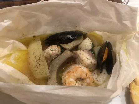 Sabatinis Trattoria menu seafood parcel