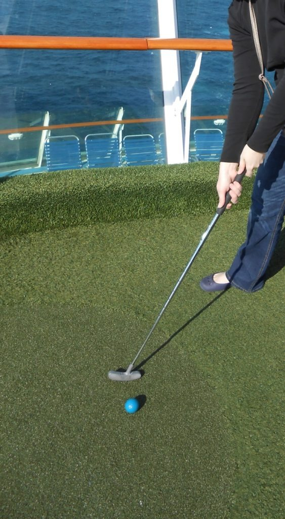 Playing mini-golf in the middle of the ocean!