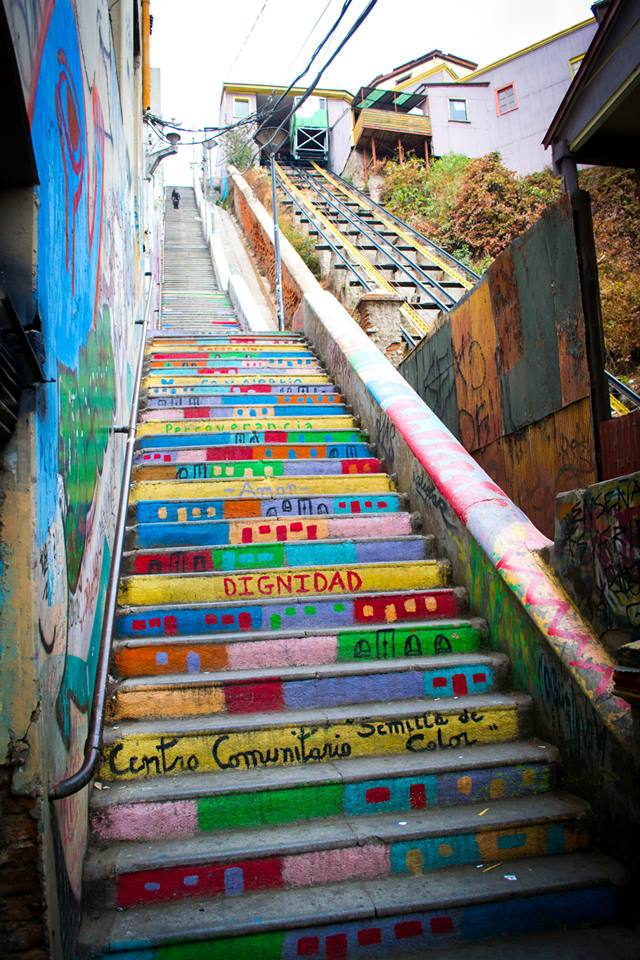 Stairs with Street Art Valparaiso Chile