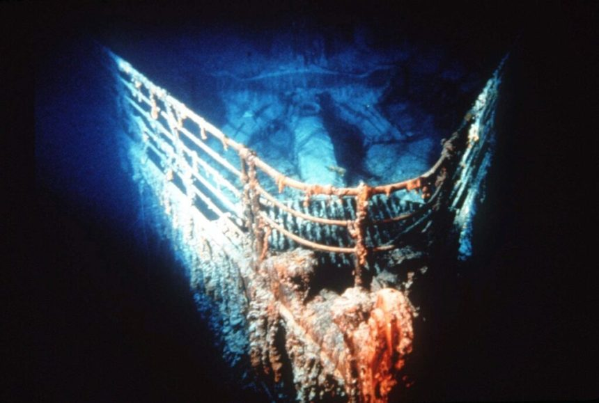 Titanic at rest on the bottom of the North Atlantic,