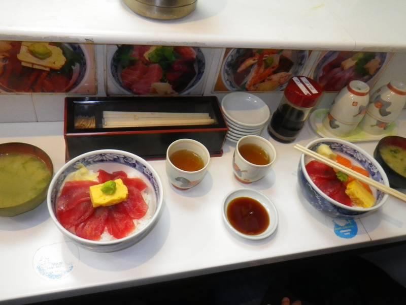 Sashimi with Rice, Miso soup and Green Tea
