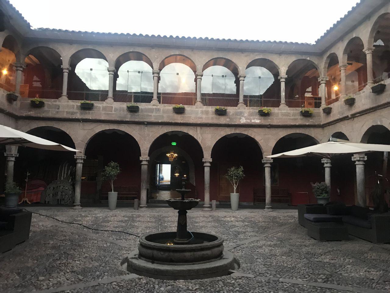 Hotel courtyard at dawn
