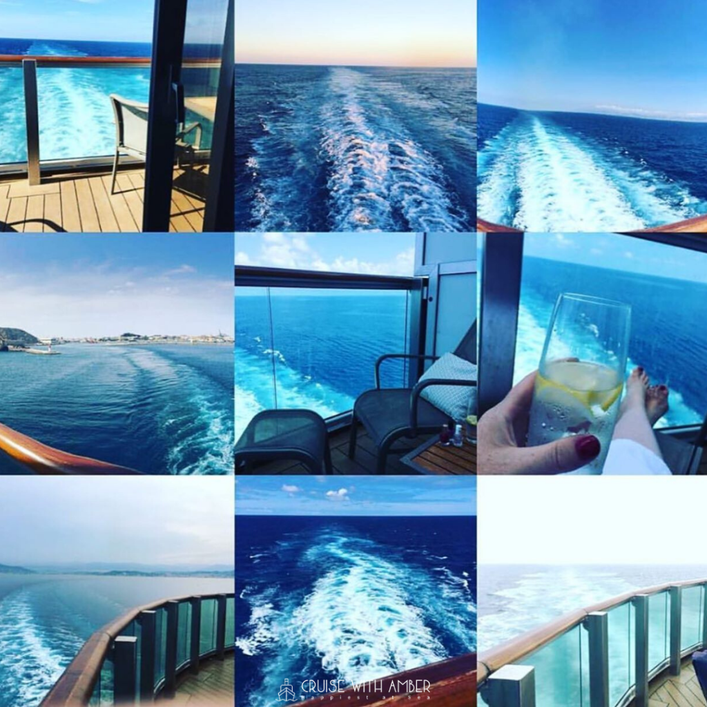 cruise ship wake, sea, balcony cabin