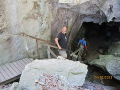 Steve enters the big hole in the ground!