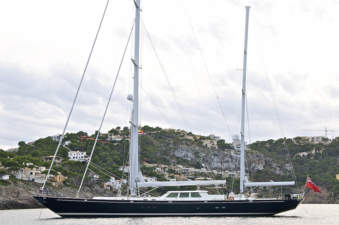 Beautiful super yacht in the bay of Port de Andratx. Cruising Attitude Sailing Blog - Discovery 55