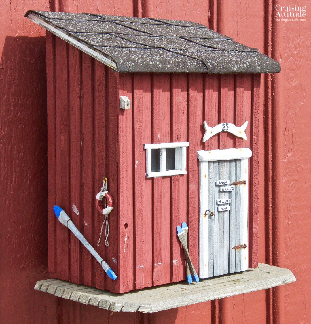 A lovely mailbox in the village of Mollösund, Sweden | Cruising Attitude Sailing Blog - Discovery 55