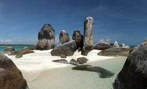 Batu Berlayar Island with natural rock formation, Belitung