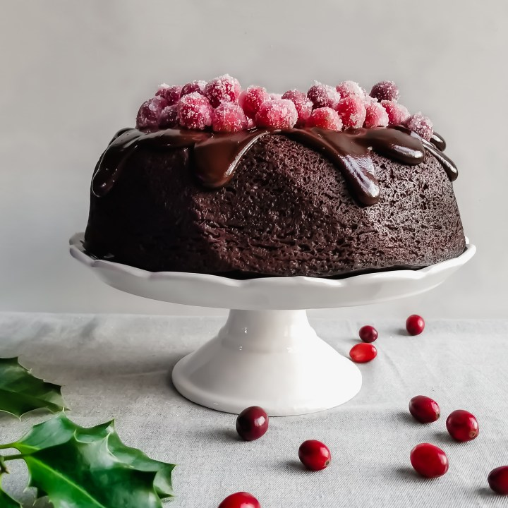 Cranberry Chocolate Fudge Bundt Cake with Chocolate Ganache & Sugared Cranberries