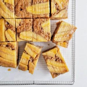 Vegan Upside Down Caramel Banana Sheet Cake sliced into squares