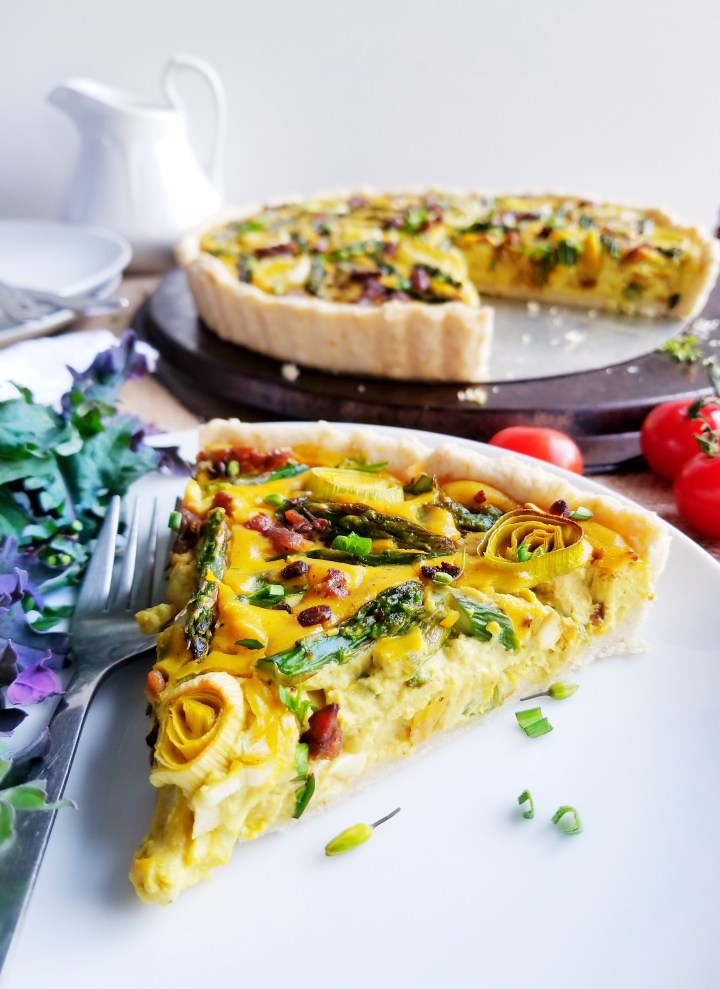 Asparagus, Leek and Tempeh Bacon Quiche
