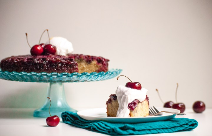 Vegan Upside Down Cherry Almond Cake