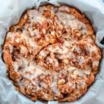 Peach Pie Cinnamon Rolls with Almond Oat Streusel and Almond Glaze