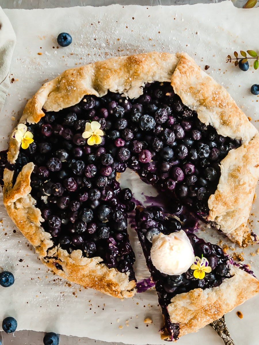 Vegena Blueberry Ginger Galette served with vegan ice cream