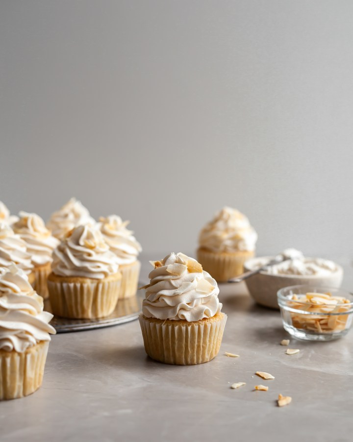 Vegan Coconut Cream Cupcakes on serving tray