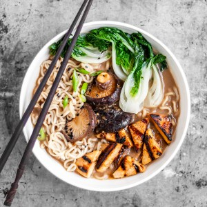Vegan Mushroom Miso Ramen served with Grilled Tofu, Shiitakes and Bok Choy