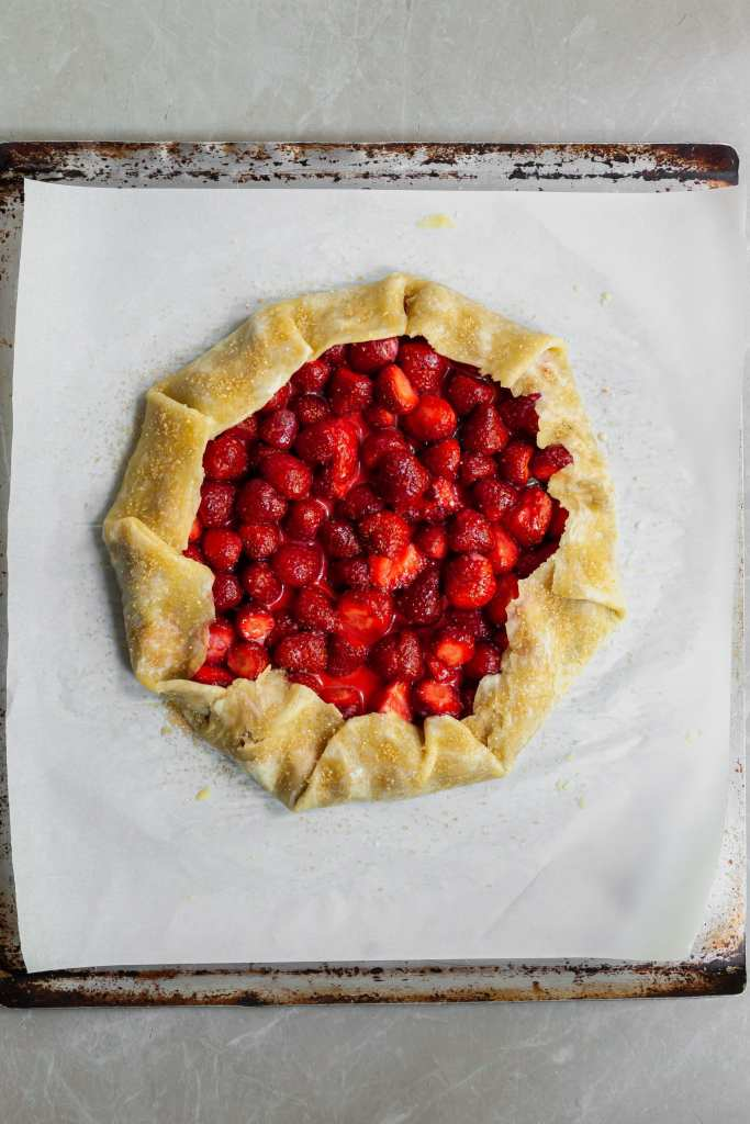 Fresh Strawberry Galette with Hazelnut Chocolate Spread all ready for the oven after a spinkling of turbinado sugar
