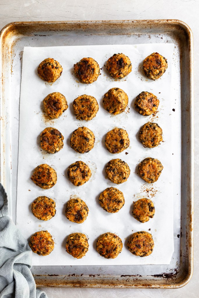 Baking tray of chickpea meatballs