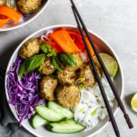 Thai Chickpea Meatballs & Coconut Curry Bowls - Vegan & GF