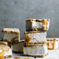 Cookie Dough Ice Cream Sandwiches with Caramel Swirls - Vegan & No-Bake with Gluten-Free Option